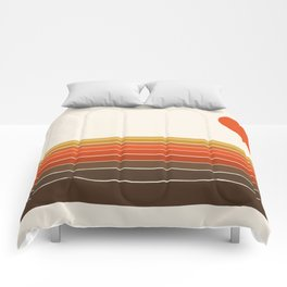 Peace Out - sunset ocean surfing beach life 70s style retro 1970s design Comforters