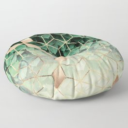 Leaves And Cubes Floor Pillow