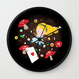Alice Falling Down the Rabbit Hole Wall Clock