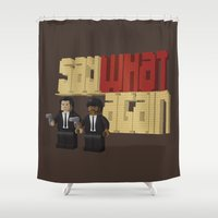 pulp Shower Curtains featuring Pulp Bricktion by I.Nova