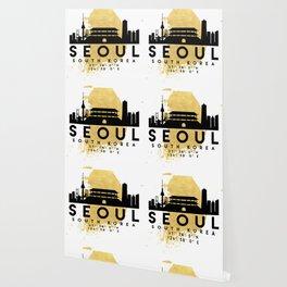 SEOUL SOUTH KOREA SILHOUETTE SKYLINE MAP ART Wallpaper