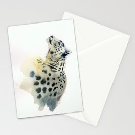 Snow Leopard in watercolor Stationery Cards