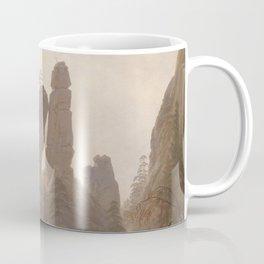 Caspar David Friedrich - Rocky Ravine in the Elbe Sandstein Mountains - Felsenlandschaft im Elbsands Coffee Mug