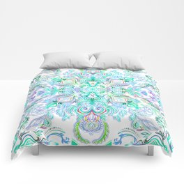 Painted Rainbow Doodles Comforters