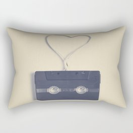 Retro black music cassette and heart shaped tape on beige background Rectangular Pillow