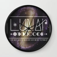 lunar Wall Clocks featuring Lunar by Nate Compton