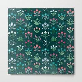 Floral pink and blue design Metal Print