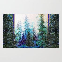 PINE TREES BLUE FOREST  LANDSCAPE TEAL PATTERN Rug
