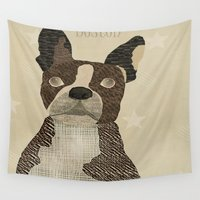 boston Wall Tapestries featuring boston bulldog  by bri.b