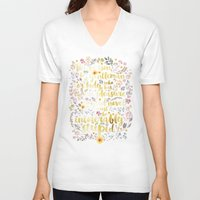 jane austen V-neck T-shirts featuring Jane Austen - Intolerably Stupid Gold Foil by Evie Seo