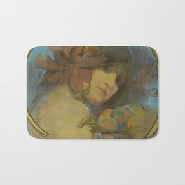 """Alphonse Mucha """"Study for a poster - Fruit"""" Bath Mat"""