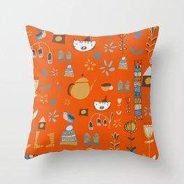 hygge cat and bird orange Throw Pillow