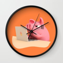 Rosa the Pig is working Wall Clock