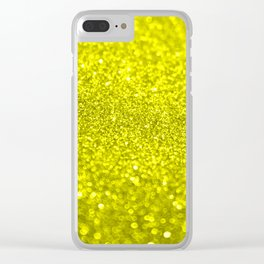 Bright Yellow Glitter Clear iPhone Case