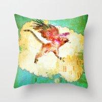 mythology Throw Pillows featuring Gryphon mythology by Ganech joe