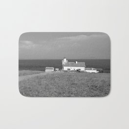 beach front lighthouse medulin croatia istria europe black white Bath Mat