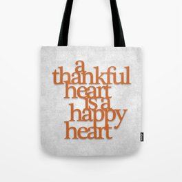 Thankful Heart: Typography Tote Bag