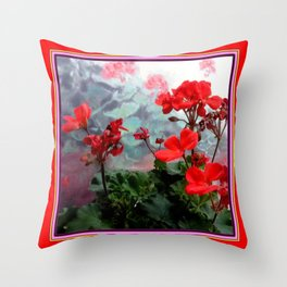 Red Geraniums Floral Red Abstract Throw Pillow