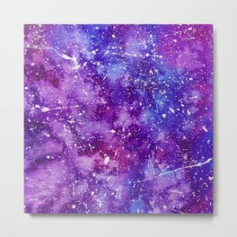 Artistic white paint splatters pink purple watercolor Metal Print