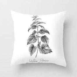 Stinging Nettle Botanical Illustration Throw Pillow
