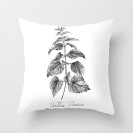 Stinging Nettle Botanical Illustration Throw Pillow