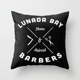 Barber Shop : Lunada Bay Barbers B&W Throw Pillow