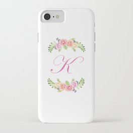 Floral Initial Letter K iPhone Case