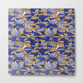 Book Collection in Blue Metal Print