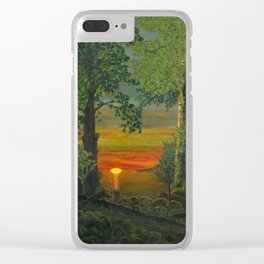 Forest Sunset Clear iPhone Case