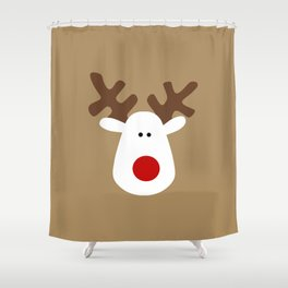 Christmas Reindeer-Brown Shower Curtain