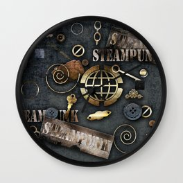 Mechanical steampunk grunge print. Wall Clock