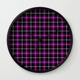 Purple and Black Tartan Wall Clock