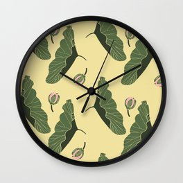 lotos  botanical mix pattern Wall Clock