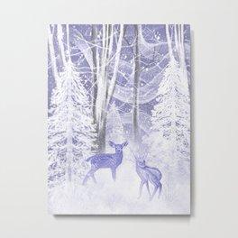 Winter Fawns Metal Print