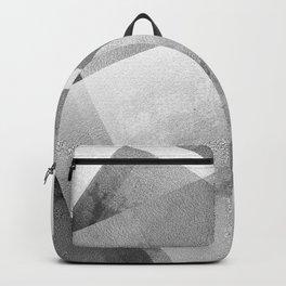 Black and Metallic Silver - Digital Geometric Texture Backpack