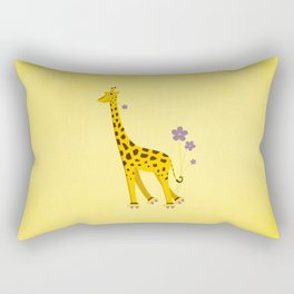 Yellow Funny Roller Skating Giraffe Rectangular Pillow