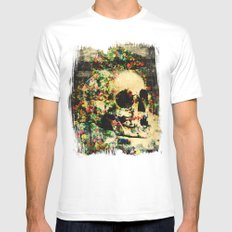 floral skully 2 White MEDIUM Mens Fitted Tee