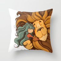 lion Throw Pillows featuring Lion by Tatiana Obukhovich