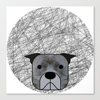 pit bull Canvas Prints featuring Pit Bull by lllg