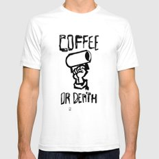 Coffee or Death White Mens Fitted Tee SMALL