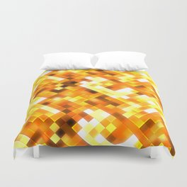 Golden Yellow Bright Squares Pattern Duvet Cover