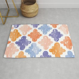 Watercolour Clouds | Blue and Coral Rug