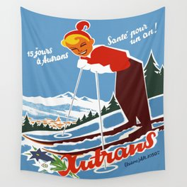 Vintage Autrans France Ski Travel Wall Tapestry