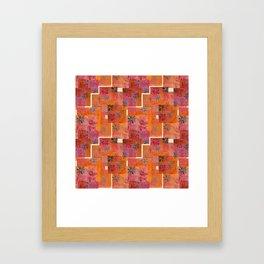 Orange geo and florals Framed Art Print