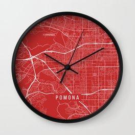 Pomona Map, USA - Red Wall Clock