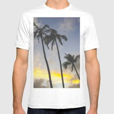 Sunset of the Palms White MEDIUM Mens Fitted Tee