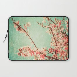 Pink Autumn Leafs on Blue Textured Sky (Vintage Nature Photography) Laptop Sleeve