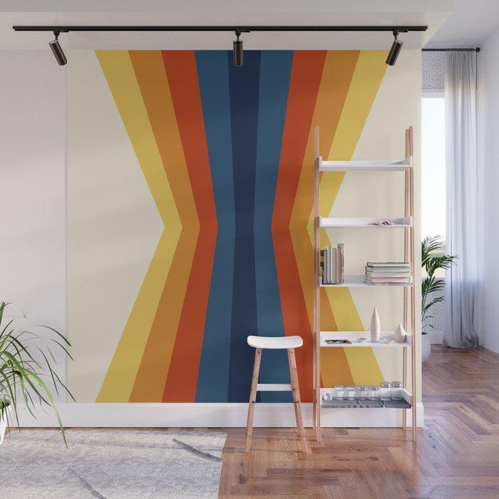 Bright 70's Retro Stripes Reflection Wall Mural