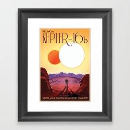 NASA Retro Space Travel Poster #8 Kepler 16b Framed Art Print