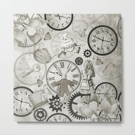 Wonderland Time - Vintage Black & White Metal Print